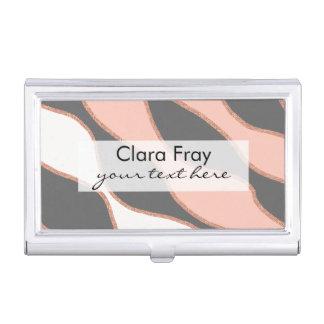 elegant pastel pink faux rose gold glitter pattern business card holder