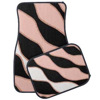 elegant pastel pink faux rose gold glitter pattern car mat