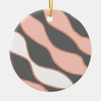 elegant pastel pink faux rose gold glitter pattern ceramic ornament
