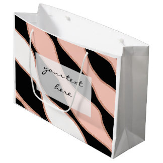 elegant pastel pink faux rose gold glitter pattern large gift bag