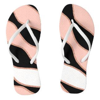 elegant pastel pink faux rose gold glitter pattern thongs