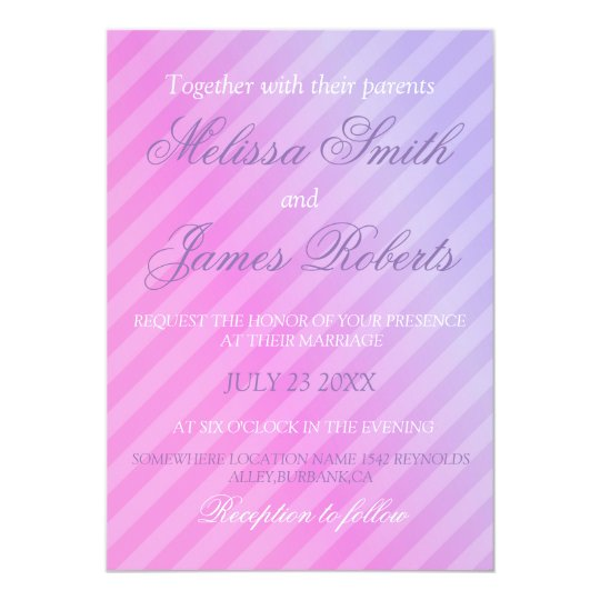 Elegant Pastel Pink Lilac Personalised Wedding Card