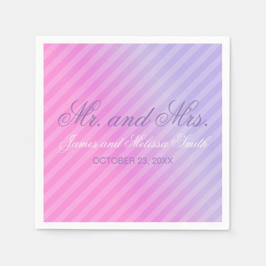 Elegant Pastel Pink Lilac Personalised Wedding Disposable Serviette