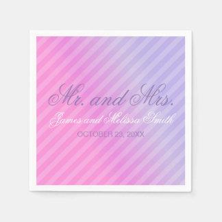 Elegant Pastel Pink Lilac Personalized Wedding Disposable Serviette