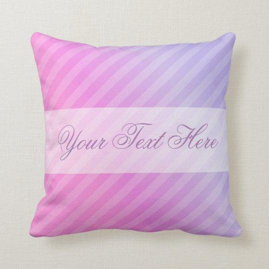 Elegant Pastel Pink Lilac Striped Personalised Cushion