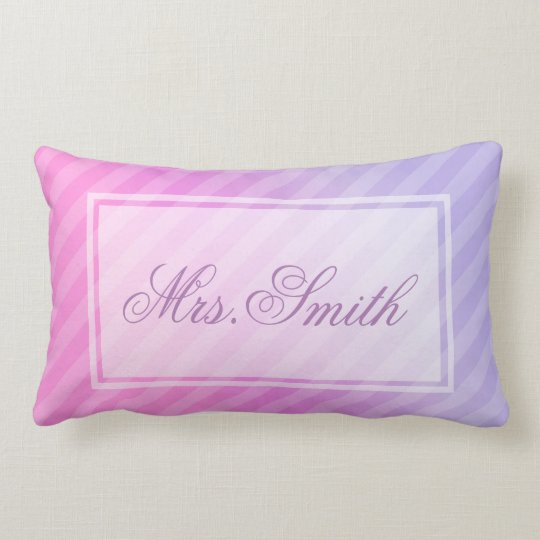Elegant Pastel Pink Lilac Striped Personalised Lumbar Cushion