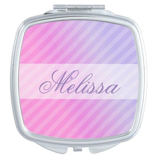 Elegant Pastel Pink Lilac Striped Personalised Makeup Mirror