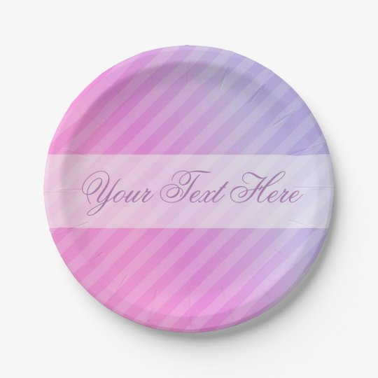 Elegant Pastel Pink Lilac Striped Personalised Paper Plate