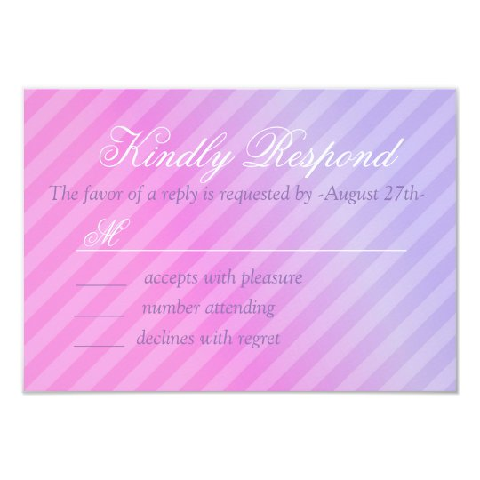 Elegant Pastel Pink Lilac Wedding RSVP Card