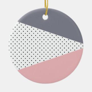 Elegant pastel pink purple geometric polka dots ceramic ornament