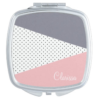 Elegant pastel pink purple geometric polka dots compact mirror