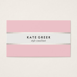 Elegant Pastel Pink Silver Striped Professional Business Card