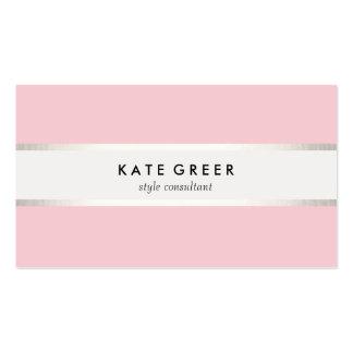 Elegant Pastel Pink Silver Striped Professional Pack Of Standard Business Cards