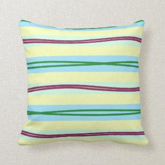 Elegant pastel stripes with bold wavy accents cushion