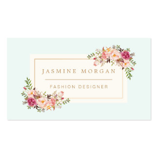 Elegant Pastel Watercolor Floral Boutique Decor Pack Of Standard Business Cards