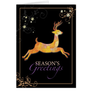 Elegant Patchwork Reindeer Season's Greetings Card