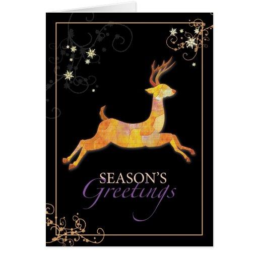 Elegant Patchwork Reindeer Seasons Greetings Cards