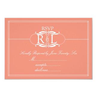 "Elegant Peach and Grey Monogram RSVP 3.5"" X 5"" Invitation Card"