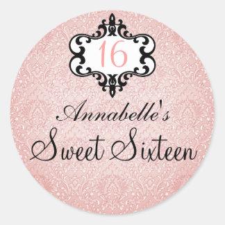 Elegant Peach & Black Chic Damask Sweet 16 Sticker