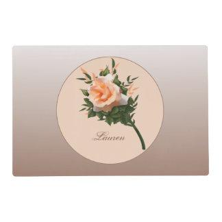 Elegant Peach Coral Rose Flower Placemat