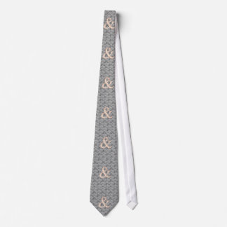 Elegant Peach Floral Ampersand on Black and White Tie