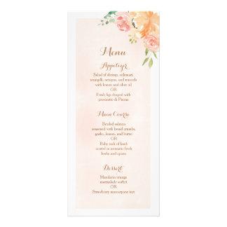 Elegant peach flower wedding reception dinner menu