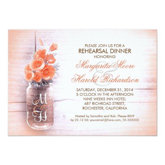 elegant peach flowers mason jar rehearsal dinner card