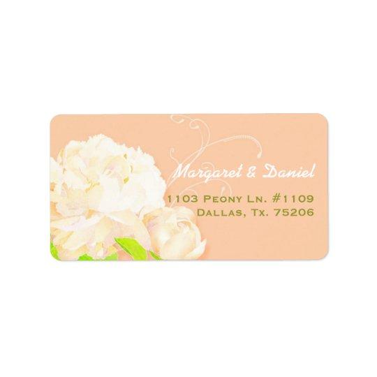 Elegant Peach Peony Floral Wedding Address Label