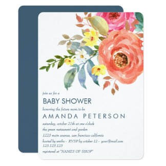 Elegant Peach Pink and blue Peonies Baby Shower Card