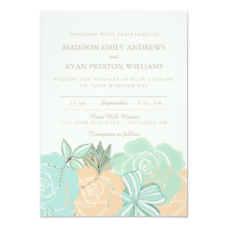 Elegant Peach Roses Mint Floral Wedding Invitation