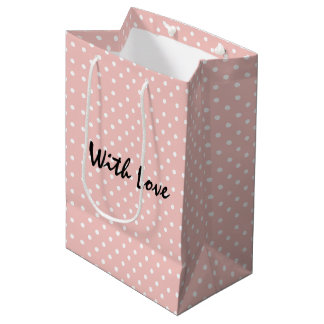 Elegant Peachy Pink Polka Dot Pattern With Love Medium Gift Bag