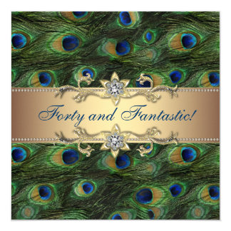 Elegant Peacock Birthday Party 13 Cm X 13 Cm Square Invitation Card
