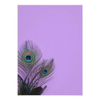 Elegant Peacock Blank Invitation purple