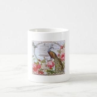 Elegant Peacock Butterfly and Roses Paris Coffee Mug