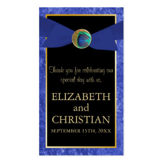 Elegant Peacock Button & Bow Wedding Favor Tag Business Card Template