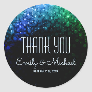 Elegant peacock color bokeh wedding thank you classic round sticker