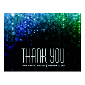 Elegant peacock color bokeh wedding thank you postcard