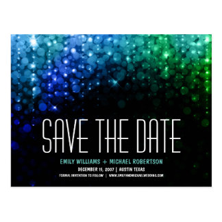 Elegant peacock color lights bokeh save the date postcard