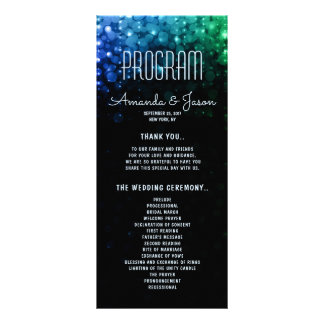 Elegant peacock color lights bokeh wedding program rack card