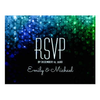 Elegant peacock color lights bokeh wedding RSVP Postcard