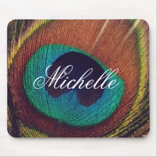 Elegant peacock feather peafowl eye personalized mouse pad