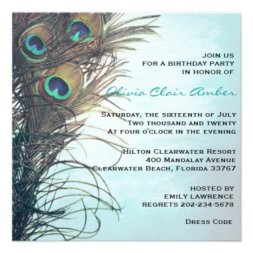 Elegant Peacock Feathers Birthday Party Invite Personalized Invites