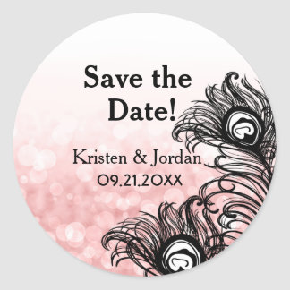 Elegant Peacock Feathers Bokeh Pink Wedding Round Sticker