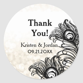 Elegant Peacock Feathers Bokeh Wedding Seal Round Sticker