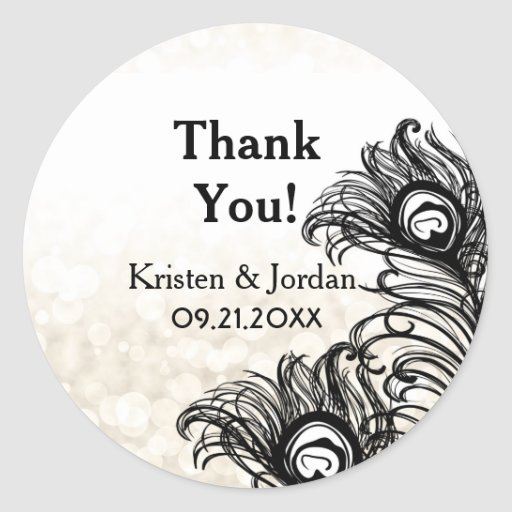 Elegant Peacock Feathers Bokeh Wedding Seal Sticker