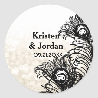 Elegant Peacock Feathers Bokeh Wedding Round Sticker