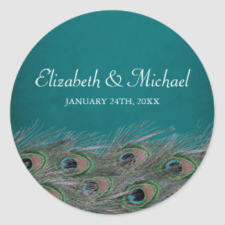 Elegant Peacock Feathers Round Wedding Favor Label
