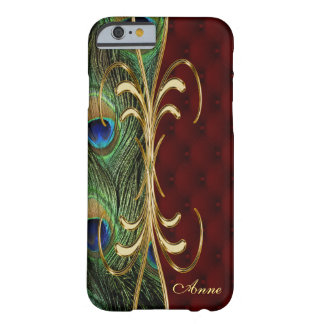 Elegant Peacock Gold Leather iPhone 6 Monogram Barely There iPhone 6 Case