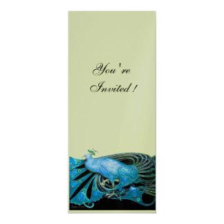 ELEGANT PEACOCK IN BLUE ,BLACK. SILVER METALLIC 10 CM X 24 CM INVITATION CARD