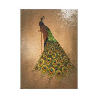 Elegant peacock on old-fashioned perch canvas print